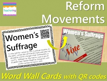 Abolition & Suffrage Reform Movements {Word Wall with QR Codes}