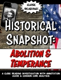 Abolition & Temperance Movement Historical Snapshot Close
