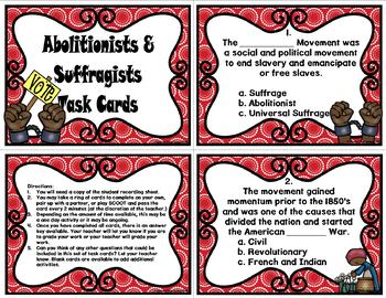 Abolition and Suffrage Movements Task Cards