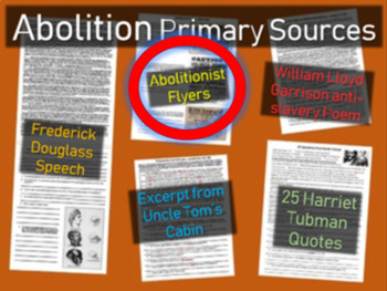 Abolitionist Flyers Handout with guiding questions and bac