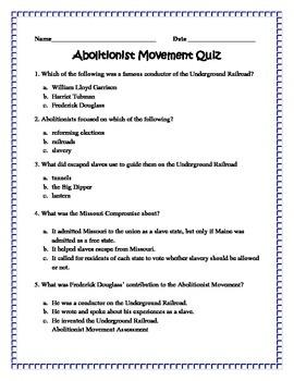 Abolitionist Movement Quiz