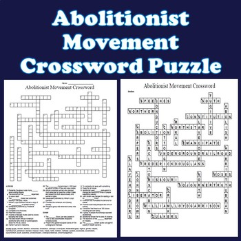 Abolitionist Movement Crossword