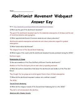 Abolitionist Movement Webquest