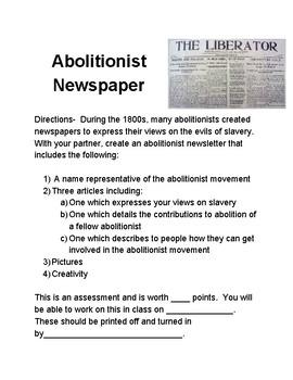 Abolitionist Newsletter Assignment