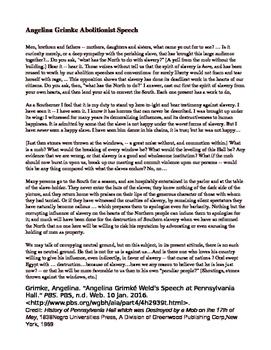 Abolitionist Speech - Angelina Grimke - Primary Source