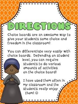 Abolitionist & Suffrage Choice Board Harriet Tubman, Sojourner Truth, E. Stanton