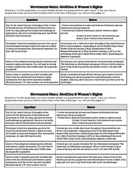 Abolitionist & Women's Rights Learning Menu