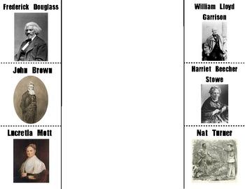 Abolitionists Foldable: Douglass, Brown, Mott, Garrison, Stowe, & Turner