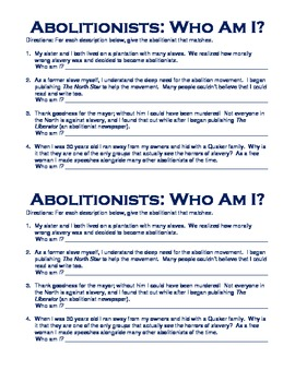 Abolitionists Who Am I? Worksheet