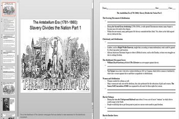 Abolitionists and the Second Great Awakening Powerpoint AND Notes Worksheet