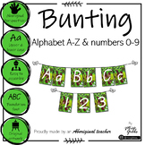 Aboriginal Alphabet and numbers 0-9 Green Bunting - Foundation font