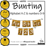 Aboriginal Alphabet and numbers 0-9 Yellow Bunting - Foundation font