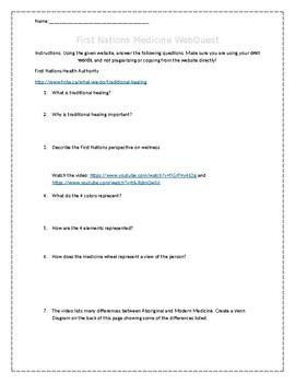 Aboriginal First Nations Medicine Webquest