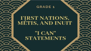 "Canadian Indigenous ""I Can"" Statements - Grade 1"