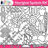 Aboriginal Symbols Clip Art | Australian Native Art Dreamtime Graphics | B&W