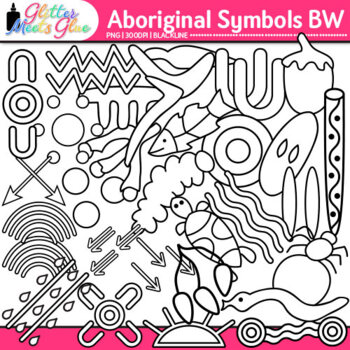 Aboriginal Symbols Clip Art | Australian Native Art Dreamtime Graphics | B&W