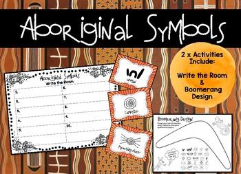 Aboriginal Symbols - Write the Room and Boomerang Design *Naidoc Week