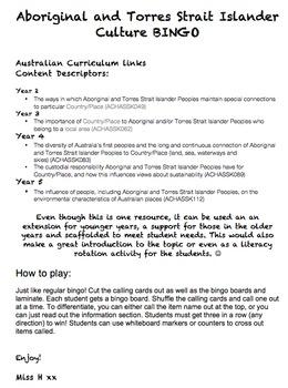 Aboriginal and Torres Strait Islander Culture BINGO!