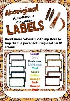Aboriginal multi-purpose editable classroom labels
