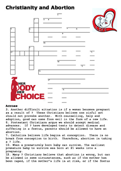 Abortion and Christianity Crossword