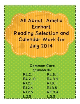 About: Amelia Earhart NonFiction Reading and Calendar for July 2014
