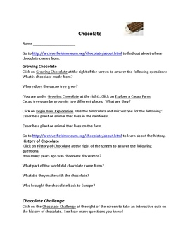 Chocolate Webquest – Great for Valentine's Day, Easter, and Halloween