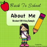 """Back to School """"About Me"""" Student Writing Sample"""