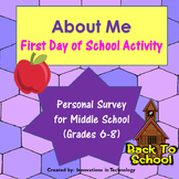About Me - First Day of School Activity