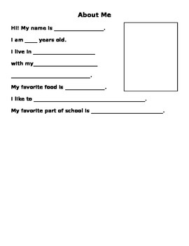 About Me- 1st Day of School Introductions- Bulletin Board-