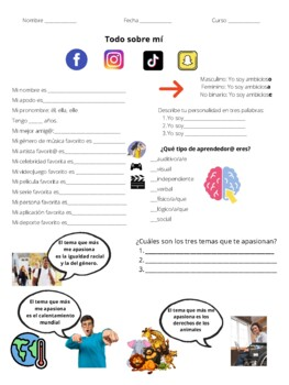 All About Me Activity for Spanish 2 and beyond