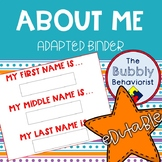 About Me Adapted Binder-Editable