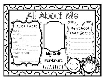 """About Me"" Back to School Activity"