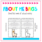 All About Me Bag Llamas Beginning of school Activity