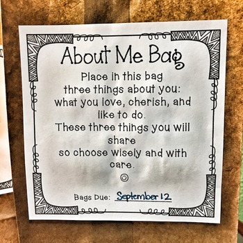About Me Bags: Back to School Freebie