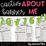 About Me Banner - Cactus- 3 different versions- First day Activity