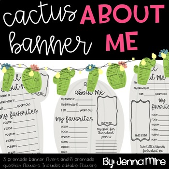 About Me Banner - Cactus- 4 different versions- First day Activity