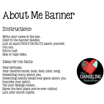 About Me Back to School Banner Craft