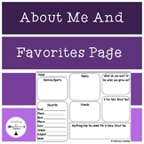 Back to School: About Me and Favorites Page