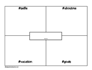 About Me Graphic Organizer Hashtag Themed Mini Poster (Back to School)