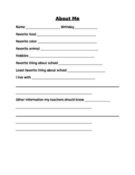 About Me Informaiton Sheet