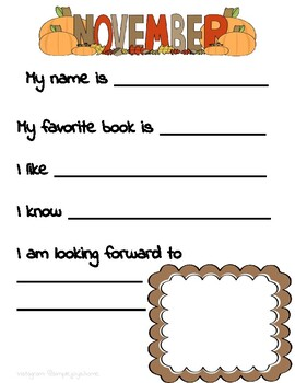 About Me Monthly Printable for a YEAR Handwriting and Interests Back to School