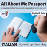 About Me Passport - Personal Information Review Speaking Activity - Italian