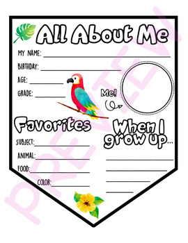 About Me Pennant - Tropical Themed