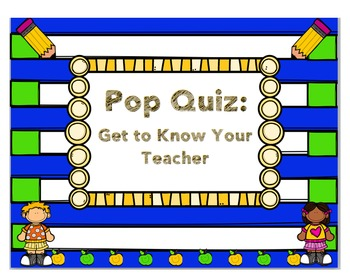 About Me Quiz- Beginning of The Year- Meet the teacher/student by