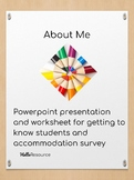 About Me- PowerPoint and Worksheet for Present Levels/Acco