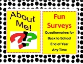 All About Me Questionnaires Back to School or End of Year 4-8