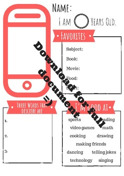 Differentiated About Me Selfie- Back to School Special!