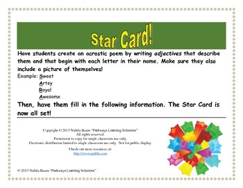 About Me Star Card!