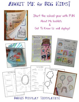 'About Me' Activities for Grades 5 to 8!