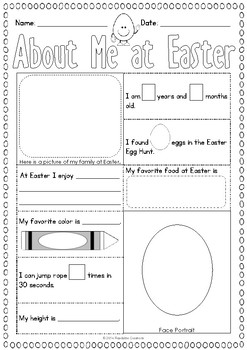About Me at Easter - Activity Sheet